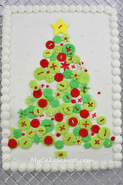 Free Christmas Tree of Buttons Cake Tutorial by MyCakeSchool.com! This cake is so simple and unique!