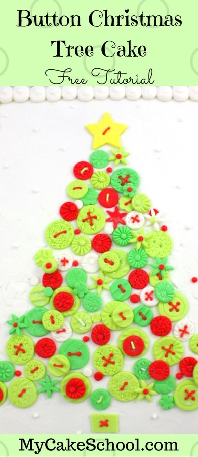 Christmas Tree of Buttons Cake by MyCakeSchool.com! Perfect for Christmas parties! Free Tutorial.