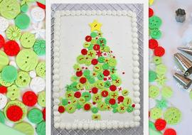 CUTE and easy Christmas Tree of Buttons Cake! Free Tutorial by MyCakeSchool.com. Perfect for Christmas Parties!