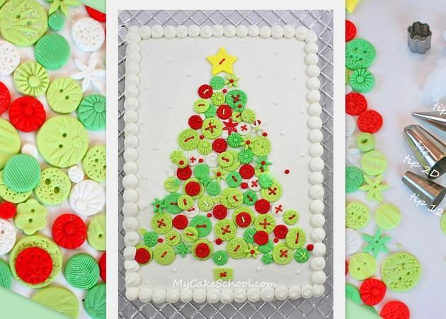 Beautiful Christmas Tree Cake Tutorial by MyCakeSchool.com! Fondant buttons make this cake design truly unique (and simple to create!)