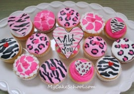 Wild About You! These adorable animal print cupcakes are perfect for Valentine's Day! Free Cupcake Tutorial by MyCakeSchool.com!