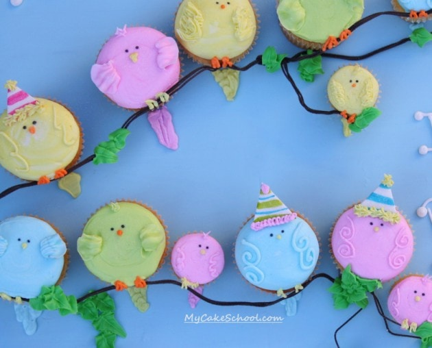 Sweet Buttercream Bird Cupcake Tutorial by MyCakeSchool.com! Perfect for young birthdays and baby showers!