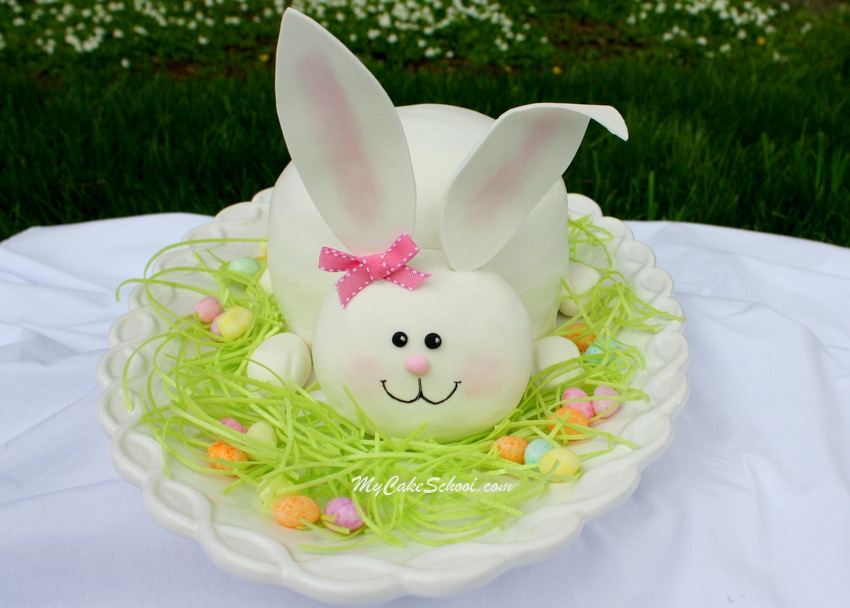 Sweet Bunny Cake Decorating Tutorial by MyCakeSchool.com! Online Cake Tutorials & Recipes!