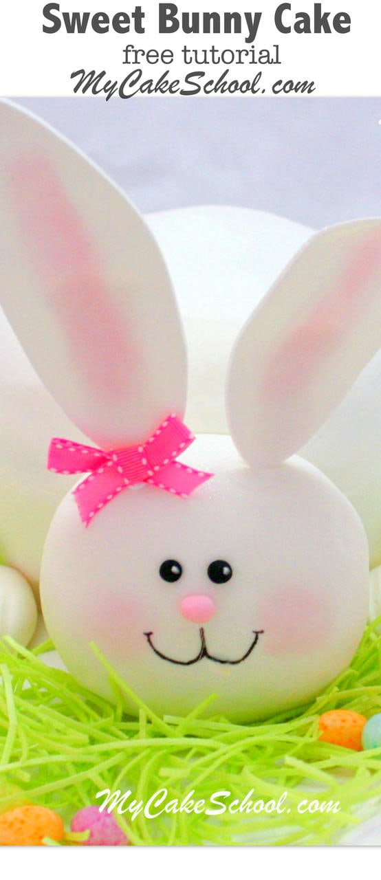Sweet Bunny Cake Tutorial by MyCakeSchool.com! Free tutorial. The perfect cake for springtime or Easter gatherings!