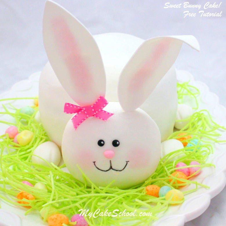 Sweet Bunny Cake Tutorial! Free step by step cake tutorial by MyCakeSchool.com. Perfect for springtime and Easter!
