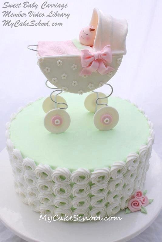 Cake Tutorial! Adorable Baby Carriage Cake Tutorial by MyCakeSchool.com! (Member Cake Video Section)