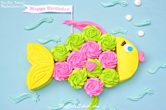 Adorable Fish Cupcake Cake Tutorial by MyCakeSchool.com! Perfect for beach parties and pool parties! Free tutorial.