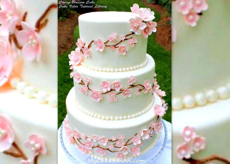 Beautiful Cherry Blossom Cake Design Tutorial by MyCakeSchool.com. Online Cake Tutorials & Recipes!