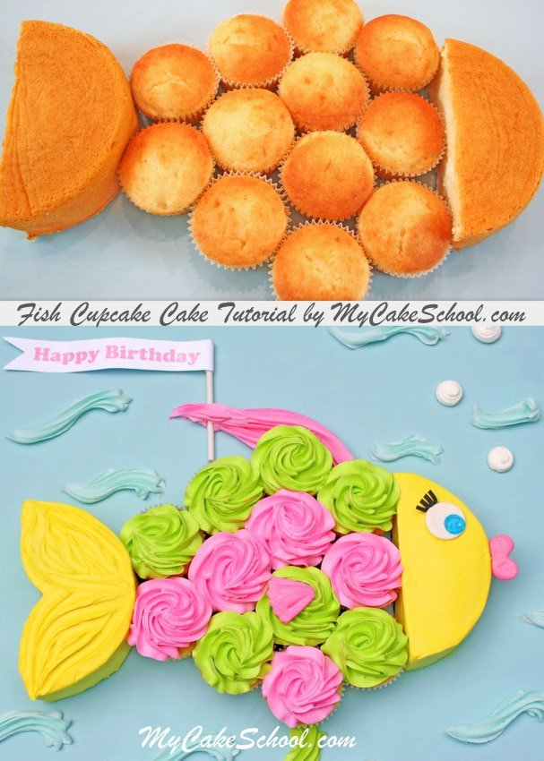 CUTE Fish Cupcake-Cake Tutorial by MyCakeSchool.com!