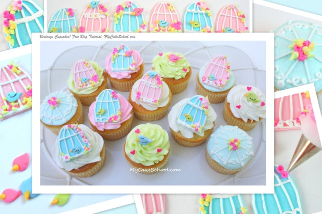 Birdcage Cupcakes - Free Blog Tutorial by MyCakeSchool.com!