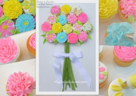 Learn to pipe buttercream flowers and how to make a beautiful bouquet of buttercream cupcakes in this MyCakeSchool.com free cupcake tutorial!