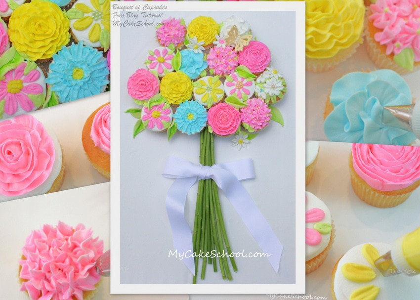 Bouquet of Cupcakes Tutorial! MyCakeSchool.com | My Cake School