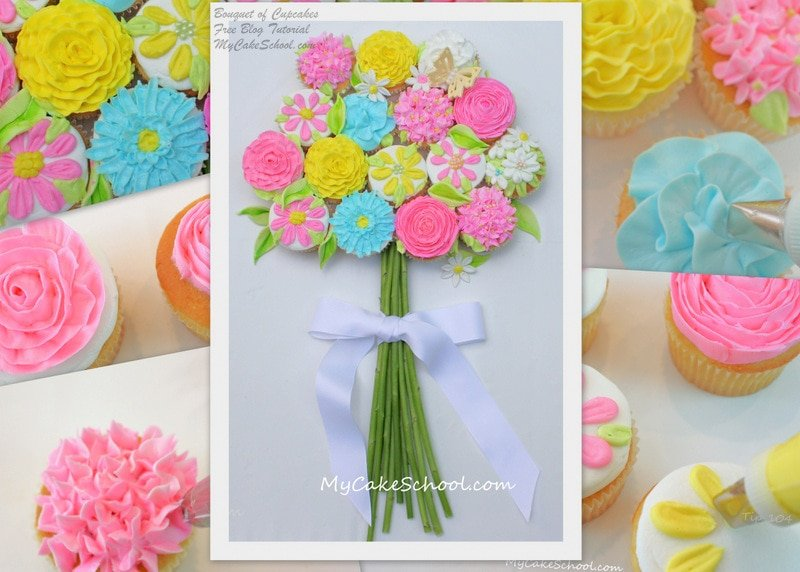 Buttercream Flower Cupcake Bouquet Tutorial by MyCakeSchool.com
