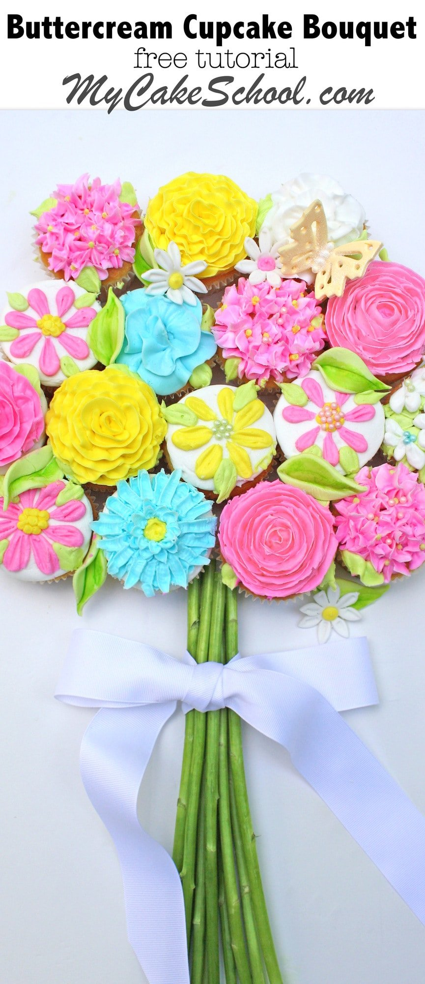 Learn how to pipe simple buttercream flowers and how to make a beautiful pull-apart cupcake cake bouquet in this free tutorial by MyCakeSchool.com!