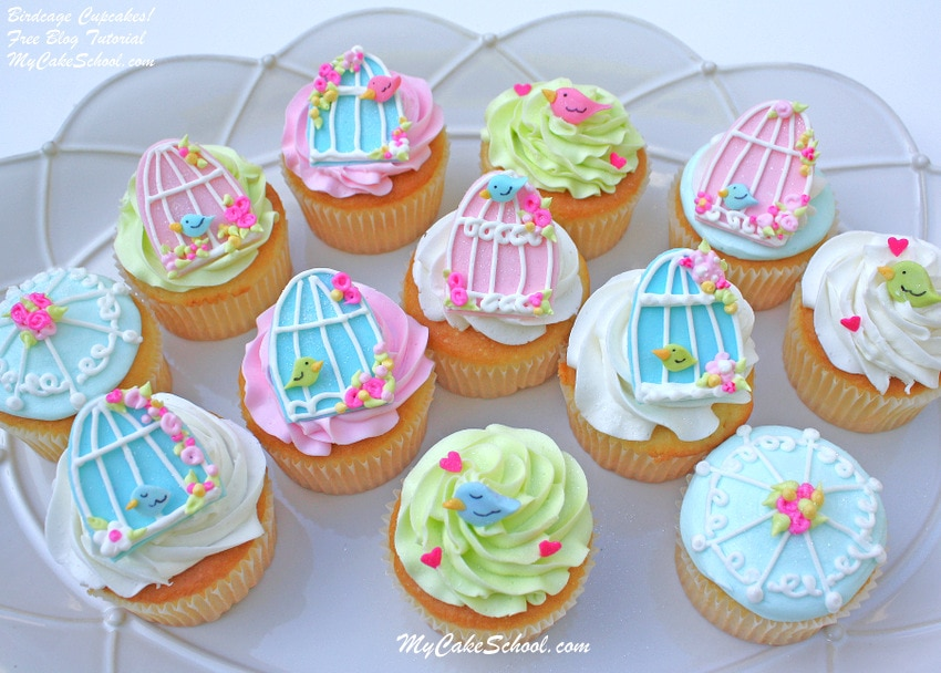 Birdcage Cupcake Tutorial by MyCakeSchool.com