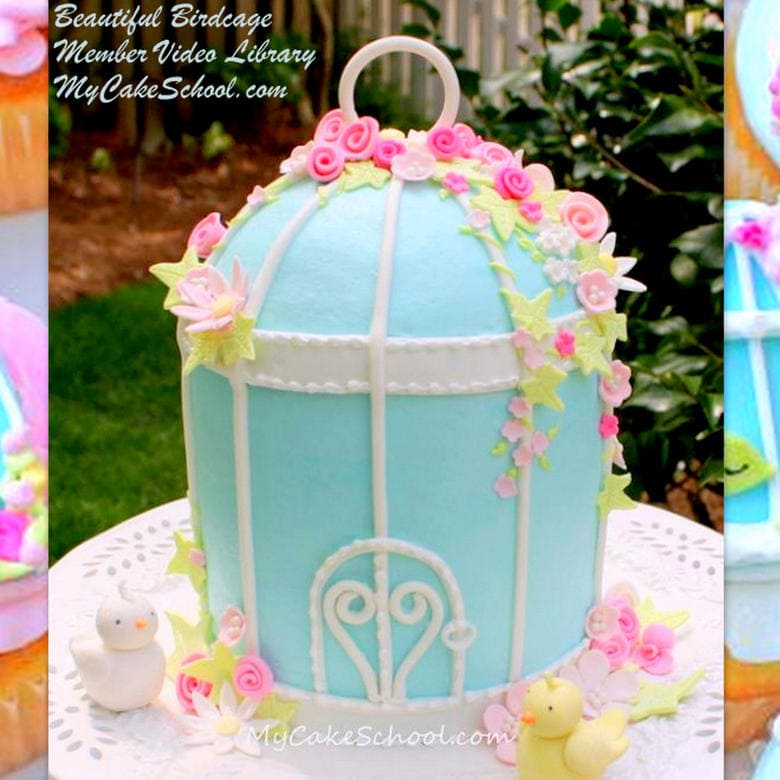 Birdcage Cake Video Tutorial by My Cake School! Member video tutorial section. This cake design is perfect for spring!