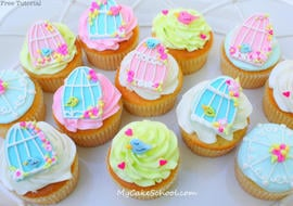 How to Make Birdcage Cupcakes! Free Tutorial by MyCakeSchool.com! Online cake tutorials, recipes, videos, and more!