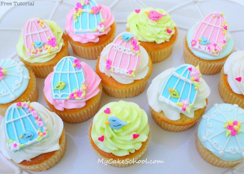 How to Make Birdcage Cupcakes! Free Tutorial by MyCakeSchool.com! Online cake tutorials, recipes, videos, and more!