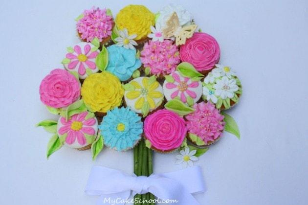 Buttercream Flower Cupcake Bouquet Tutorial by MyCakeSchool.com