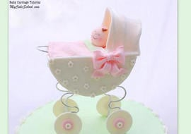 Baby Carriage Cake Topper Tutorial by My Cake School! Online cake classes and recipes!