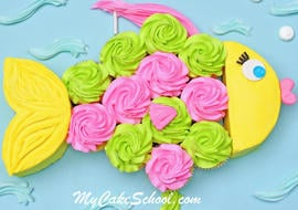 Adorable Fish Pull Apart Cupcake Cake Tutorial by MyCakeSchool.com! Online cake classes and recipes!