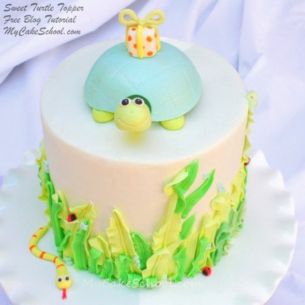 Sweet Turtle Cake Topper Tutorial {free!} by MyCakeSchool.com! Online Cake Decorating Classes & Recipes!