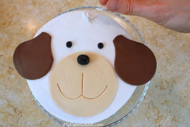 Adorable Puppy Cake Tutorial by MyCakeSchool.com! Free step by step cake tutorial!