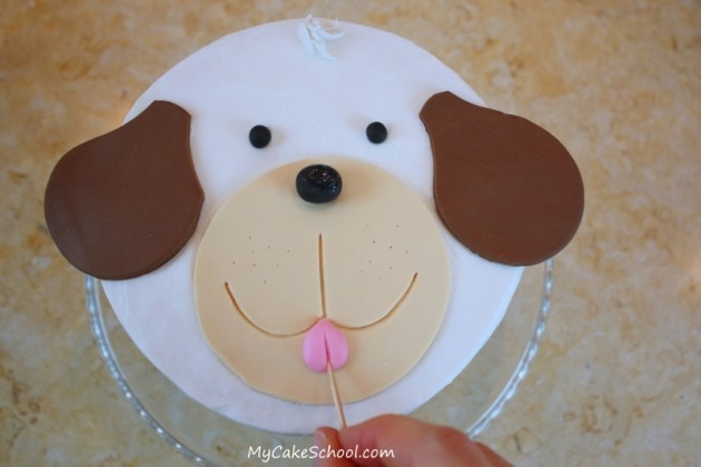 Cute Puppy Cake Tutorial by MyCakeSchool.com! This free step by step cake decorating tutorial is great even for beginners!