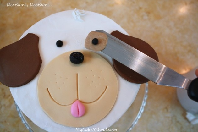 Adorable Puppy Cake Tutorial by MyCakeSchool.com! Free step by step cake decorating tutorial, perfect even for beginners!