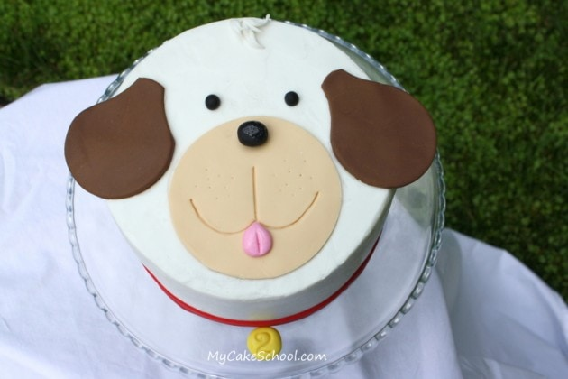 Adorable Puppy Cake Tutorial by My Cake School! Online Cake Decorating Tutorials and Recipes! (Free step by step tutorial)