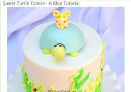 Sweet Turtle Cake Topper Tutorial by MyCakeSchool.com! Free and simple cake tutorial!