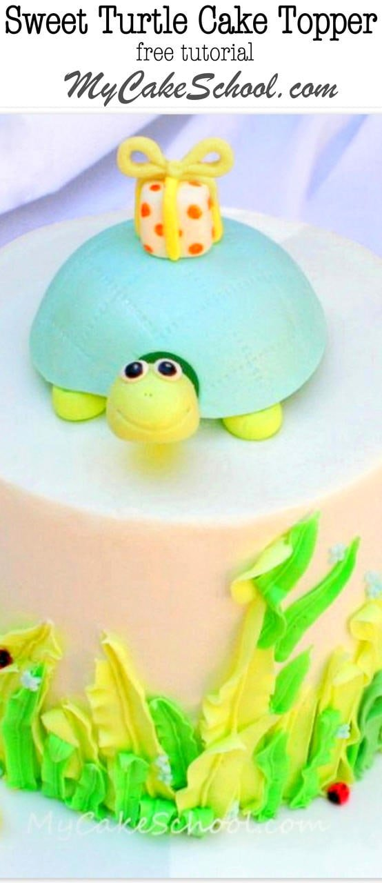 The Cutest Turtle Cake Topper! Free Tutorial by MyCakeSchool.com!