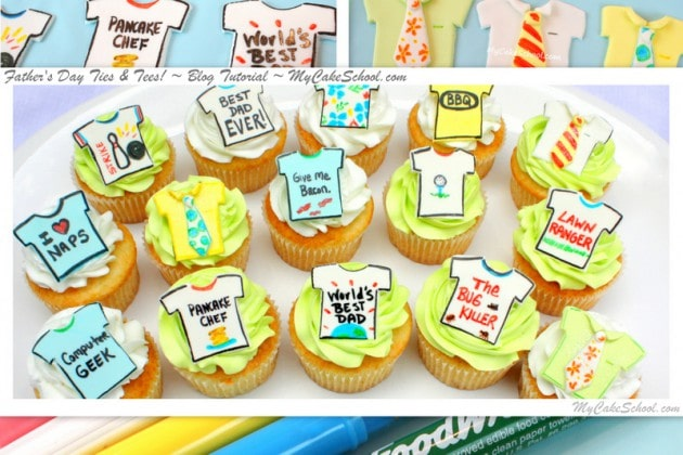 Father's Day Ties and Tees-MyCakeSchool.com