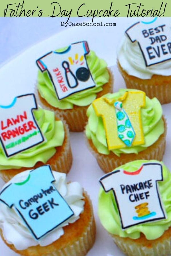 Learn how to make funny Ties & T-Shirt Cupcake Toppers in this free Father's Day Cupcake Tutorial!