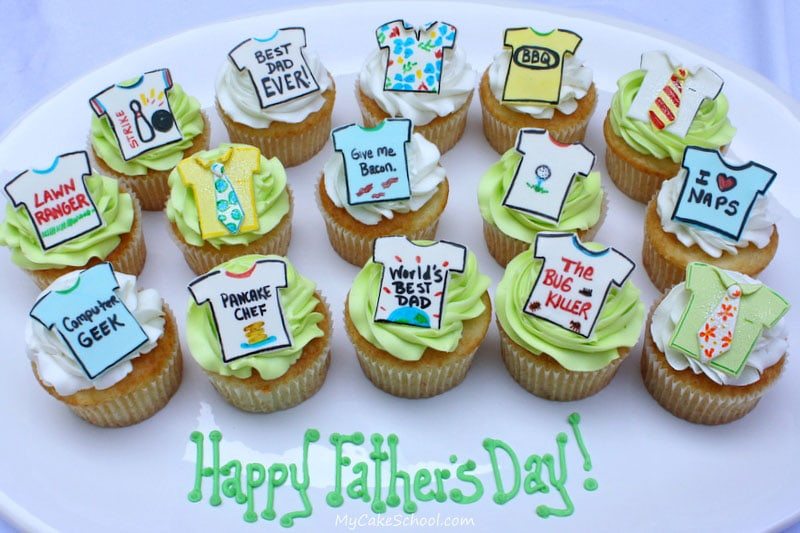 Father S Day Cupcakes Ties Tshirts Free Tutorial My