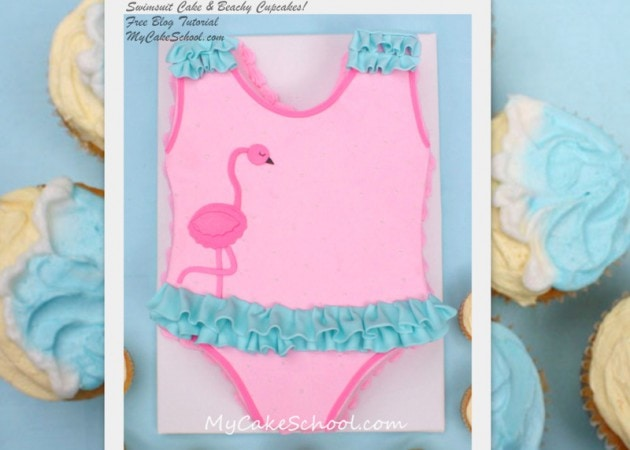 CUTE Swimsuit Cake Tutorial and Beach Cupcakes! Free Tutorial by MyCakeSchool.com!