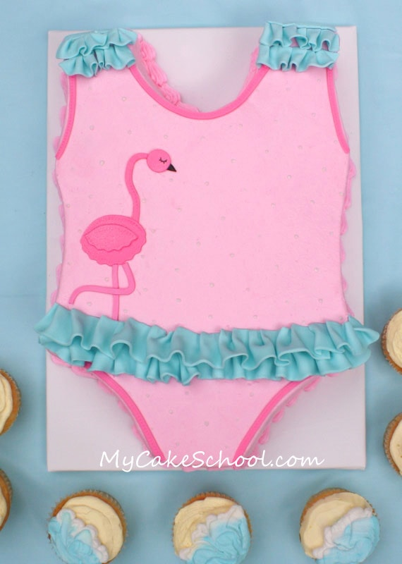 Free Cake and Cupcake Tutorial for an ADORABLE Swimsuit Cake and Buttercream Beach Cupcakes! MyCakeSchool.com Online Cake Tutorials, Recipes, and More!