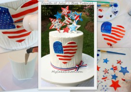 Free Cake Tutorial! A July 4th Cake Decorating Tutorial by MyCakeSchool.com! Free Tutorial!