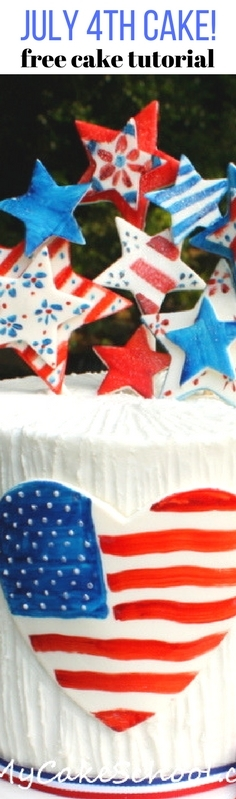 Free Fourth of July Cake Tutorial by MyCakeSchool.com! Featuring hand painted accents! MyCakeSchool.com.