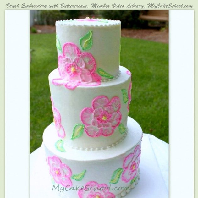 Beautiful Brush Embroidery With Buttercream Tutorial! | My Cake School