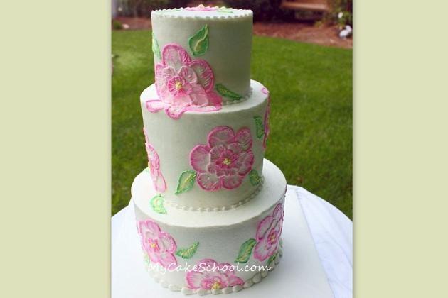 Brush embroidery with buttercream video my cake school