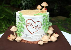 Buttercream Birch Tree Cake Tutorial by MyCakeSchool.com! This is a buttercream birch tree stump cake accented with ferns, mushrooms, and carved initials. This would be great for anniversaries and even weddings!