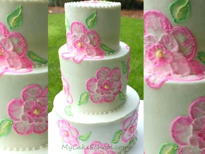 Elegant Brush Embroidery with Buttercream! A cake decorating video tutorial by MyCakeSchool.com!