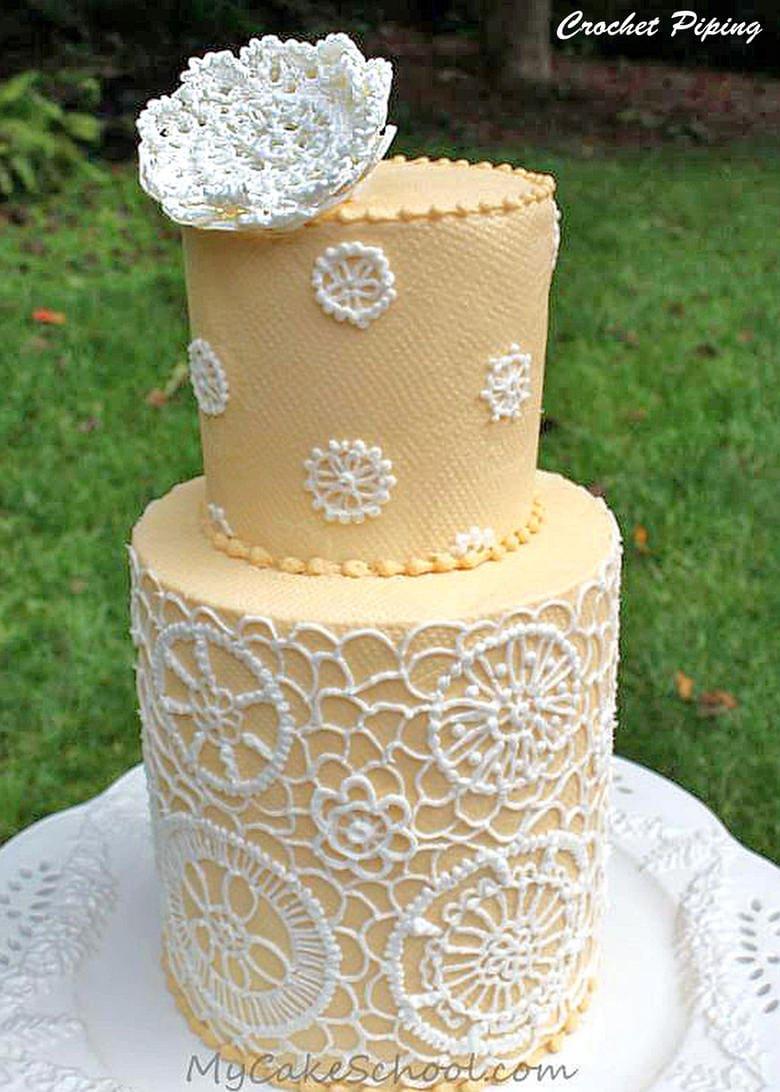 Buttercream Crochet Piping Design Cake Decorating Video