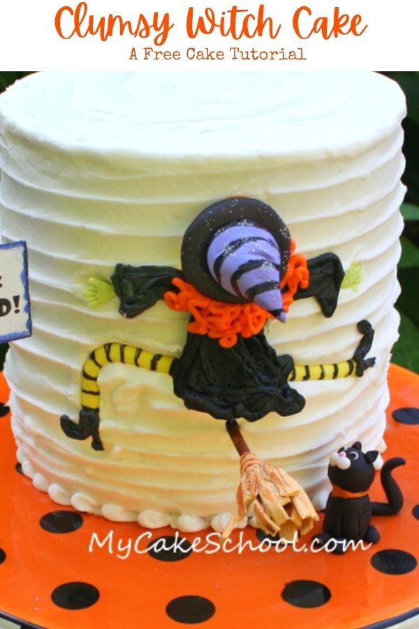Clumsy Witch Cake- A Free Halloween Cake Tutorial- This easy cake is so much fun for Halloween parties!