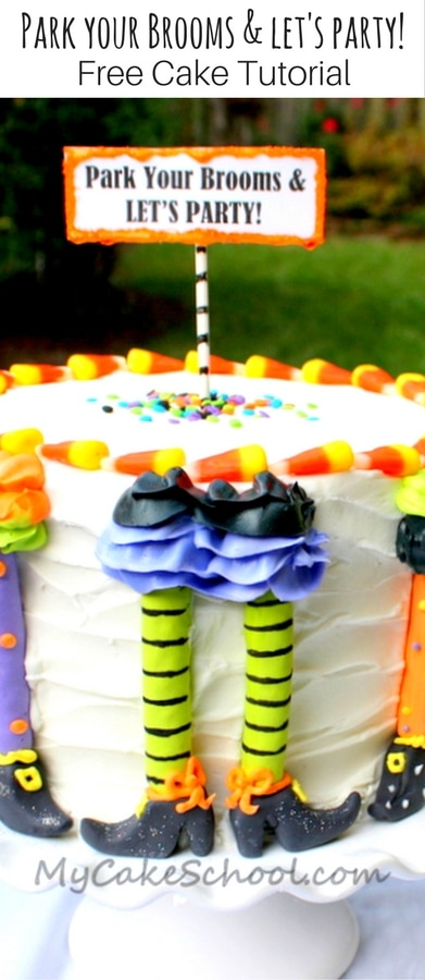 Free Halloween Party Cake Tutorial by MyCakeSchool.com! Park Your Brooms and Let's Party!