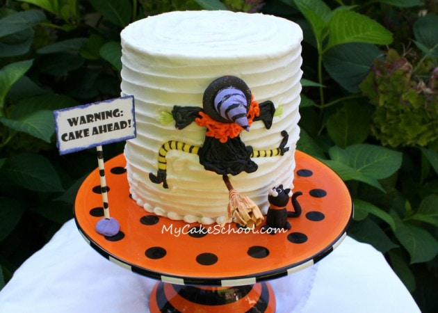 Free Clumsy Witch Cake Tutorial by MyCakeSchool.com! So easy and fun for Halloween Parties!