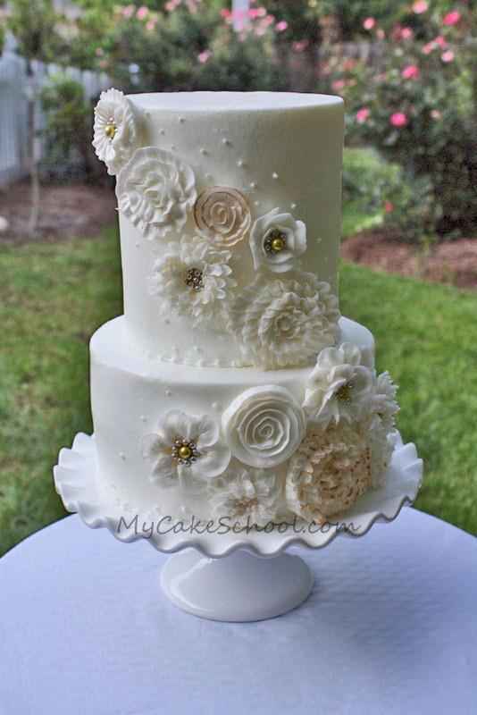 Elegant Cascade of Buttercream Flowers! A My Cake School video tutorial