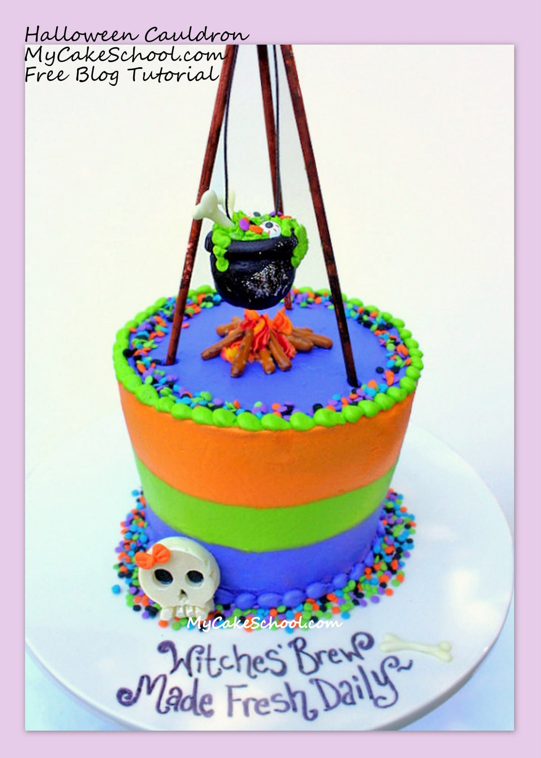 CUTE Witches Brew {free} Cake Tutorial by MyCakeSchool.com!