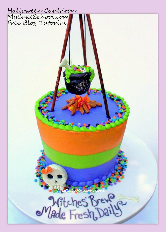 CUTE Witches Brew {free} Cake Tutorial by MyCakeSchool.com!